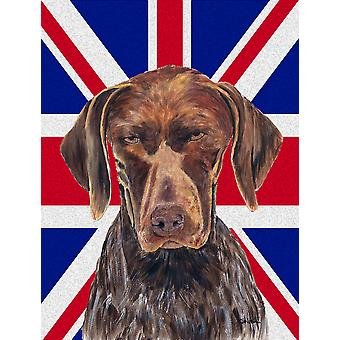German Shorthaired Pointer with English Union Jack British Flag Flag Canvas Hous