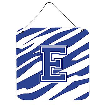 Letter E Initial Tiger Stripe Blue and White Wall or Door Hanging Prints