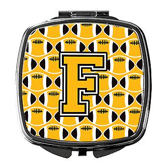 Letter F Football Black, Old Gold and White Compact Mirror