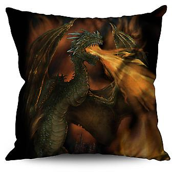 Dragon Fire Spit Fantasy Linen Cushion Dragon Fire Spit Fantasy | Wellcoda