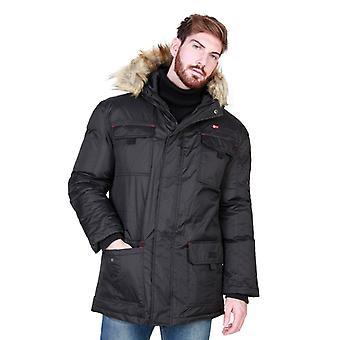 Geographical Norway Mens Black Padded Winter Jacket With Fur Hoodie