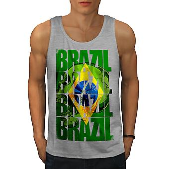 Brazil Flag Men GreyTank Top | Wellcoda