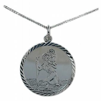 Silver 25mm round diamond cut edge St Christopher Pendant with a curb Chain 24 inches