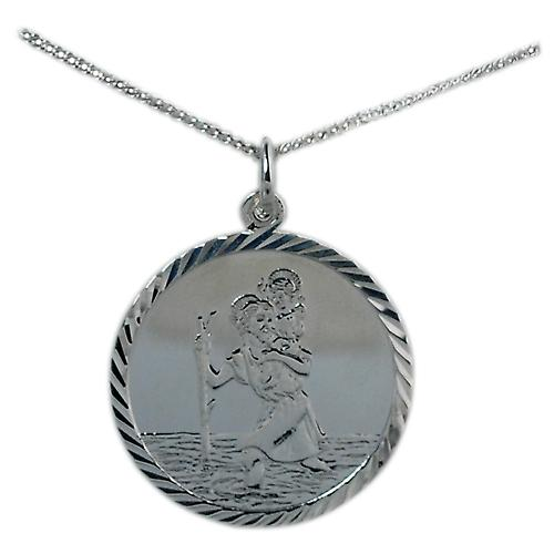 Silver 25mm round diamond cut edge St Christopher with Curb chain