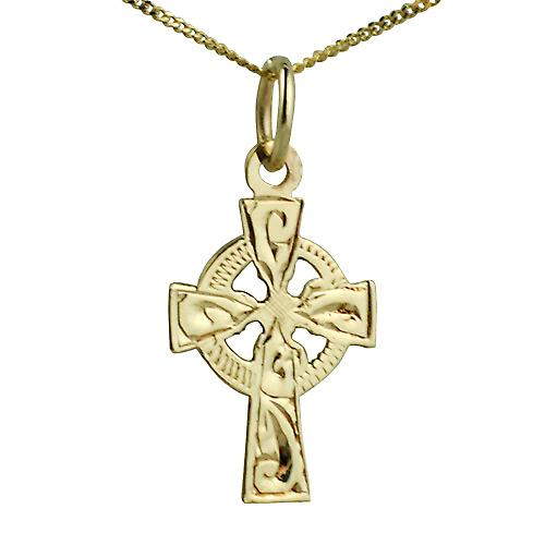 9ct Gold 16x11mm hand engraved Celtic Cross with Curb chain
