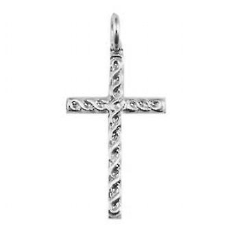 Silver 29x17mm embossed Celtic knot design Cross