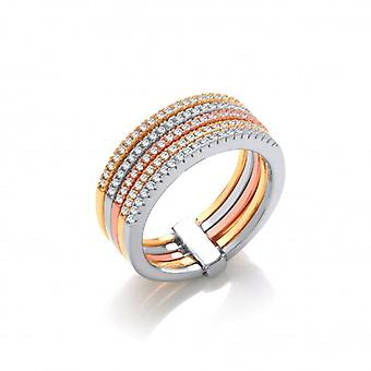 Cavendish French Silver, Rose and Yellow Gold Band Ring