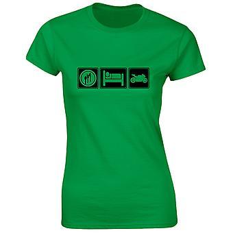 Eat Sleep Bikes Motorbikes Womens T-Shirt 8 Colours (8-20) by swagwear