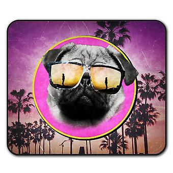 Pug Cool gafas lindo ratón antideslizante alfombra Pad 24 cm x 20 cm | Wellcoda