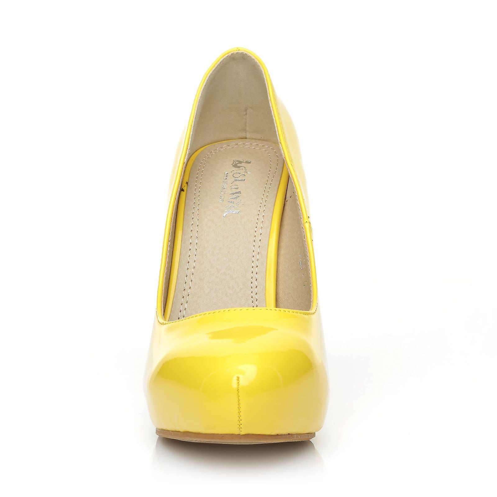 Yellow High Court Patent Shoes Stiletto H251 Leather Platform PU Concealed Heel pAOgq6wnx6