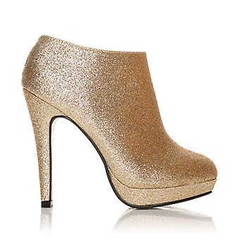 H20 Champagne Glitter Stilleto Very High Heel Ankle Shoe Boots