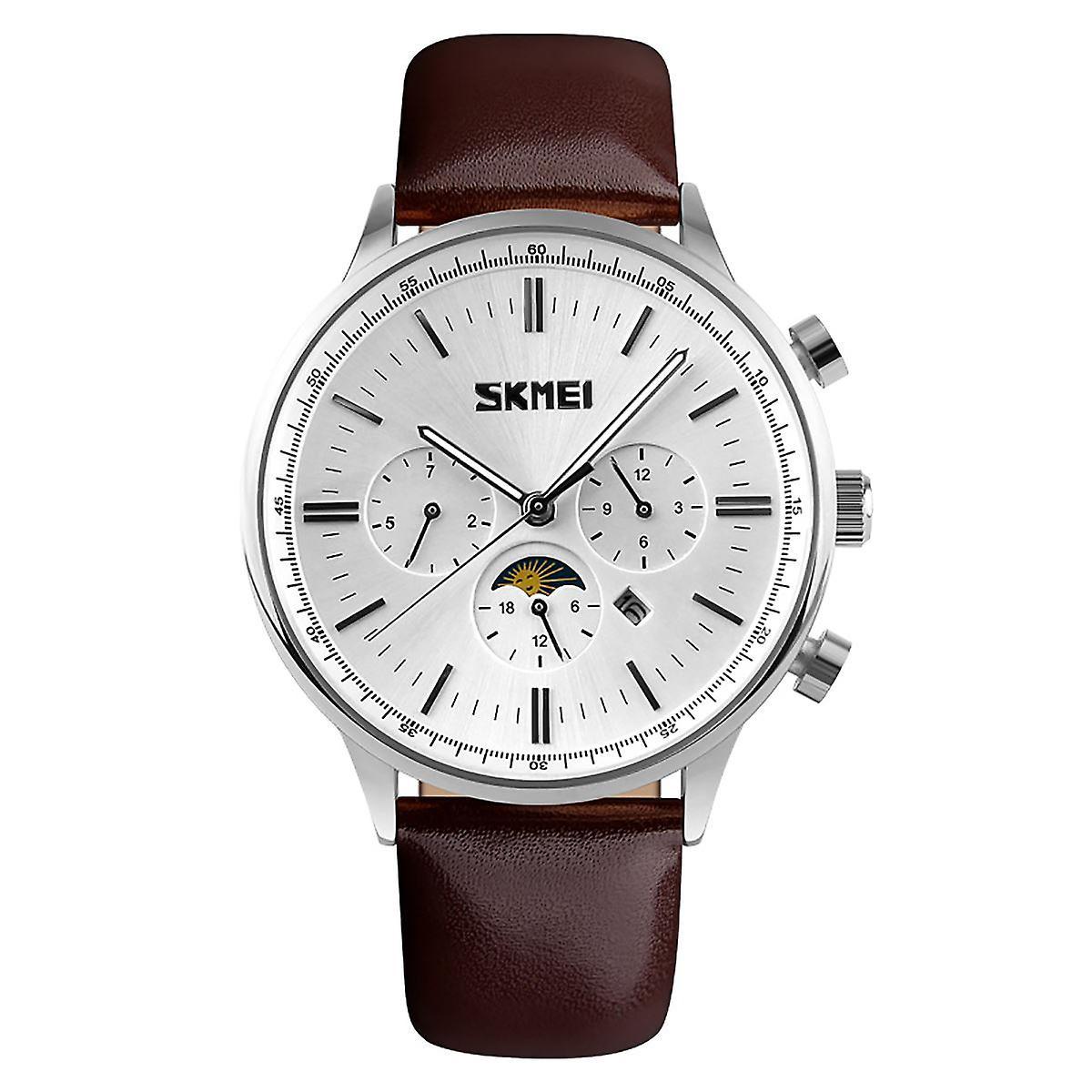 SKMEI Beautiful Quartz Mens Watch Multi Dial Sun Moon Dial Brown Leather Strap 9117S