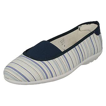 Ladies Easy B Slip On Canvas Shoes Hilary - Navy Stripes Canvas - UK Size 3 2V - EU Size 35 - US Size 5