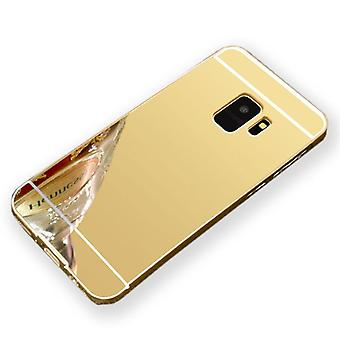 Mirror / Mirror aluminium bumper 2 pieces with cover gold for Samsung Galaxy S9 plus G965F bag cover