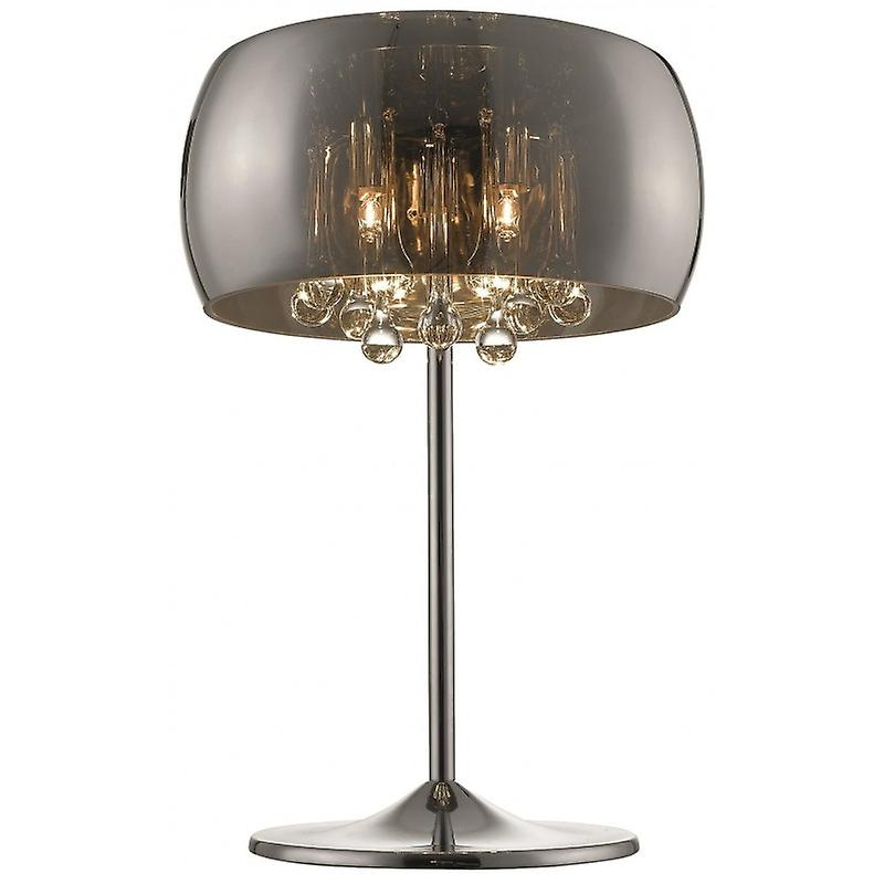 3 Light Table Lamp Chrome, Copper, Crystal With Smoked Glass Shade