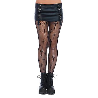 Womens Plus Size Worship Me Cross Fishnet Pantyhose Net Costume Tights