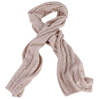 Bassin and Brown Ball Cable Knit Wool Scarf - Beige