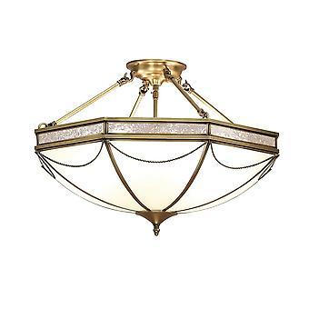 Intérieurs 1900 Russell romain Style 3 lumière blanche Tiffany semi-encastré plafonnier