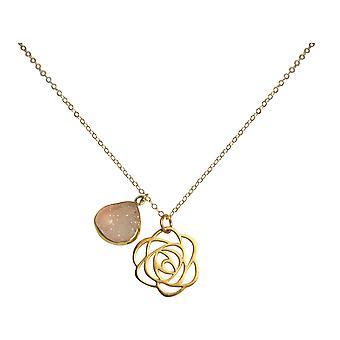 Gemshine - damer - halsband - hänge - 925 Silver - guld pläterad - ART DECO - blomma - DRUZY - Rose Quartz - 45 cm