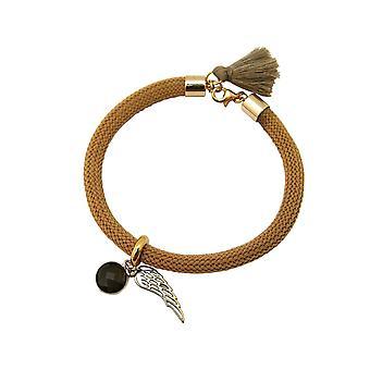 Gemshine - dames - armband - verguld - edelsteen - smoky quartz - Angel Wings - Brown
