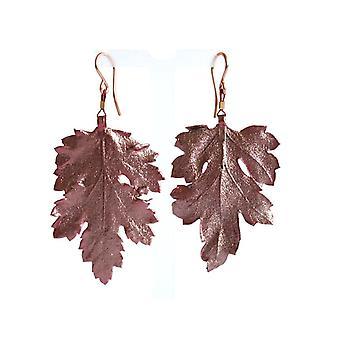 Gemshine - ladies - earrings - rose gold - leaf - pink - nature - 3.5 cm