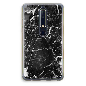 Nokia 6 (2018) Transparent Case (Soft) - Black Marble 2