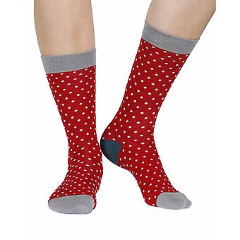Polka women's soft bamboo crew socks in red | By Doris & Dude