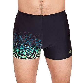 Zoggs Mens Blaze Hip Racer Swimming Swim Boxer Trunks Shorts - Black
