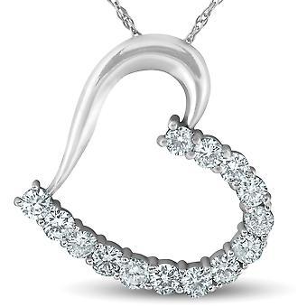 1 ct ダイヤモンド ハート ペンダント 14 K ホワイトゴールド 1