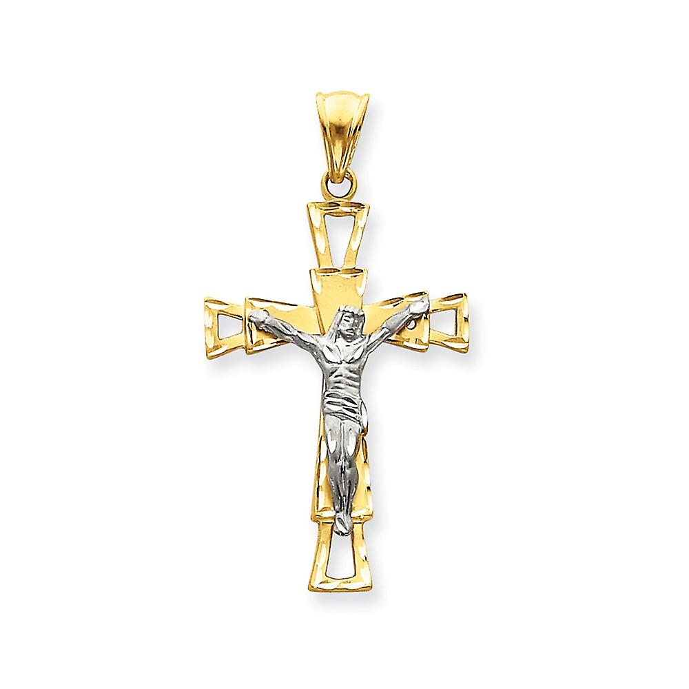 14k Two-Tone Solid Satin Sparkle-Cut or Crucifix pendentif - 6.0 Grams - Measures 31.8x59.3mm