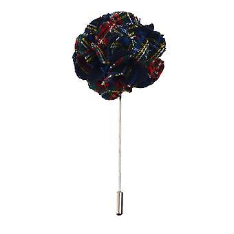 Navy Blue Tartan Handmade Flower Lapel Pin, Buttonhole, Corsage, Boutonniere