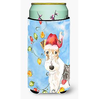 Christmas Lights Fox Terrier Tall Boy Beverage Insulator Hugger