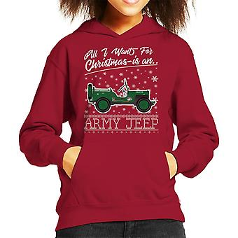 All I Want For Christmas è Hooded Sweatshirt un esercito Jeep capretto
