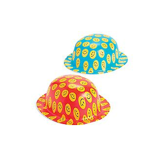 12 Smiley Face Bowler Clown Style Plastic Party Hats | Kids Birthday Party Hats