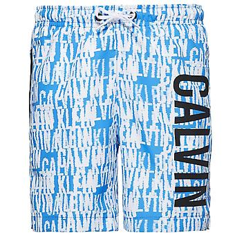 Calvin Klein Boys Intense Power Swim Shorts, Blue & White Logo, XX-Large