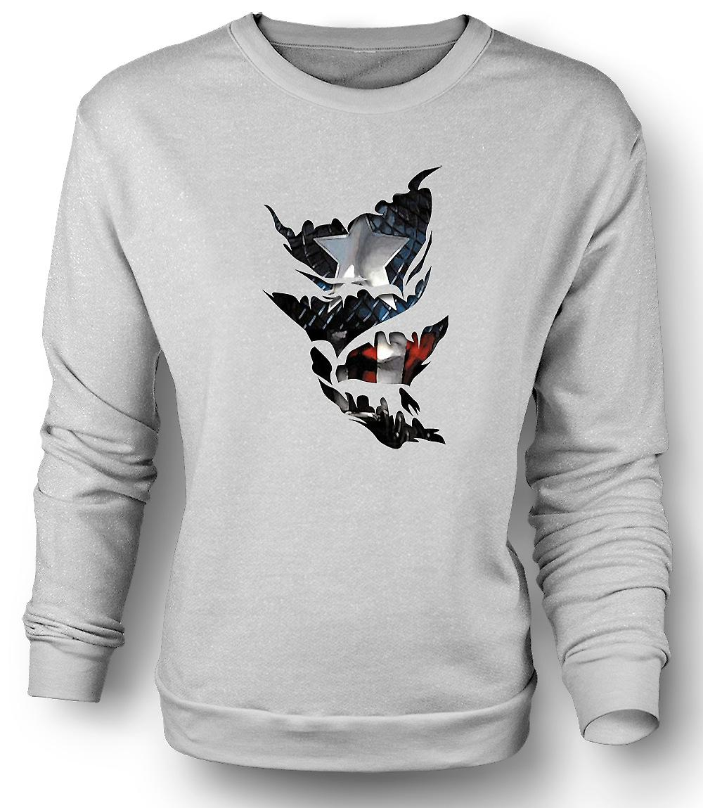 Mens Sweatshirt Captain America - Ripped Effect