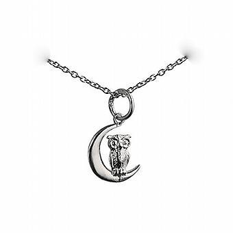 Silver 16x10mm solid Owl and Moon Pendant with a rolo Chain 24 inches