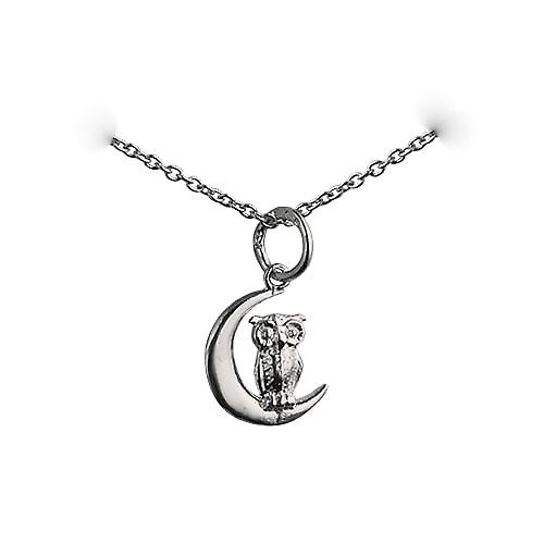 Silver 16x10mm solid Owl and Moon Pendant with a rolo Chain 18 inches