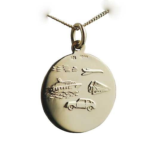 18ct Gold 21mm round St Christopher Pendant with car boat train plane on back with a curb Chain 18 inches