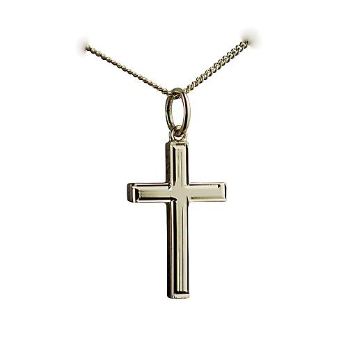 18ct Gold 20x13mm engine turned lined border solid block Cross with a curb Chain 16 inches Only Suitable for Children