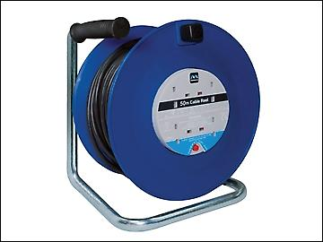 Masterplug Heavy-Duty Cable Reel 50 Metre 4 Socket 13A Thermal Cut-Out 240 Volt