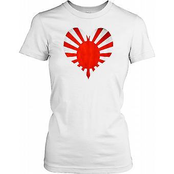 Japanese War Grunge Heart Flag Ladies T Shirt