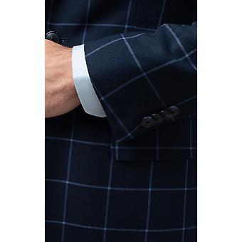 ВМС костюм куртка мужская Добелл регулярные подходят Notch петличный синий Windowpane проверки