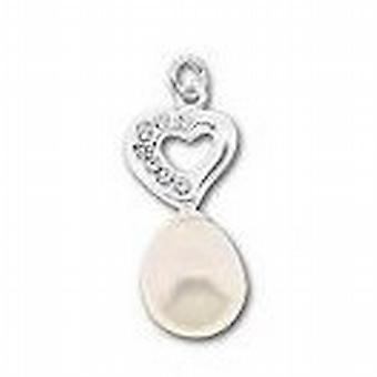 Toc Sterling Silver Crystal Heart and Synthetic Pearl Pendant