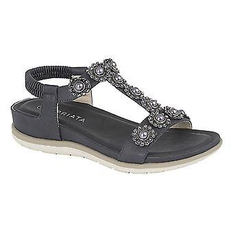 Ladies Womens Sandals Jewelled Elastic Back Low Wedge Slip On Shoes