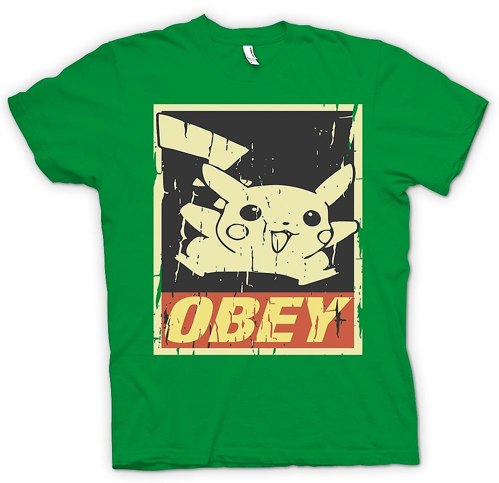 Mens T-shirt - Pikachu Obey - Cool Pokemon Inspired