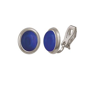 Eternal Collection Minuet Natural Lapis Lazuli Silver Tone Stud Clip On Earrings