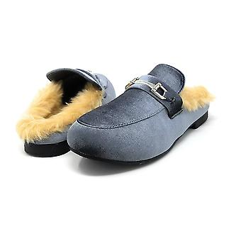 Sara Z Womens Ladies Backless Loafer Mule Shoes With Faux Fur Linings and Buckle