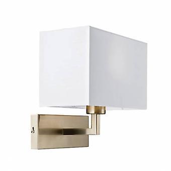 1 luz de pared interior ligera de níquel satinado, tela blanca TC
