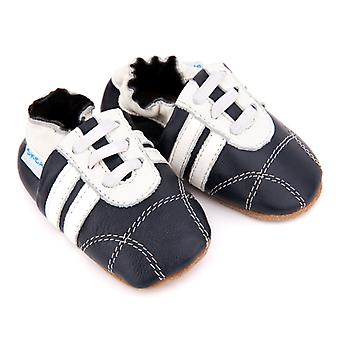 SKEANIE Leather Pre-walker Sneakers in Navy and White
